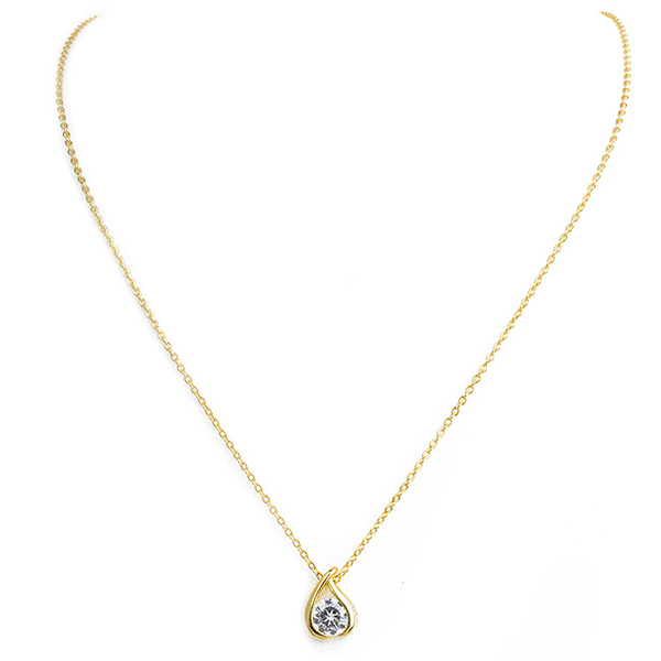 Gold Teardrop Cubic Zirconia Pendant Necklace