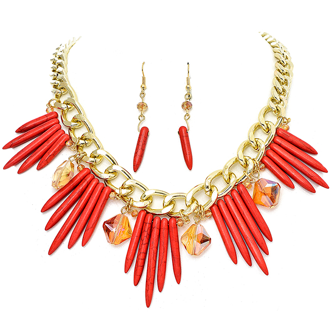 Gold Necklace Set with Coral Semi Precious