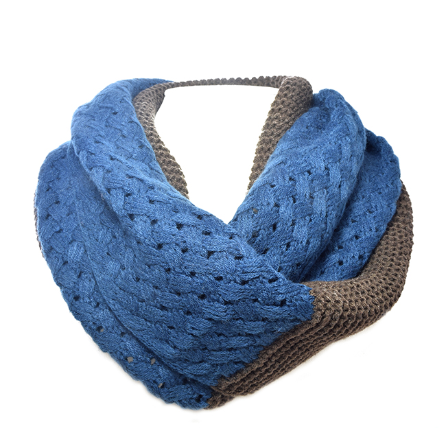 Blue and Brown Knit Soft Infinity Scarf