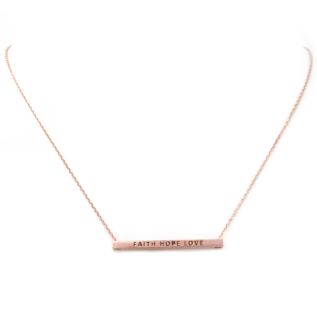Rose Gold FAITH HOPE LOVE Inspirational Pendant Necklace