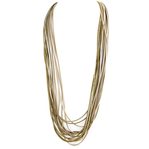 Multi Strand Leather Layered Necklace