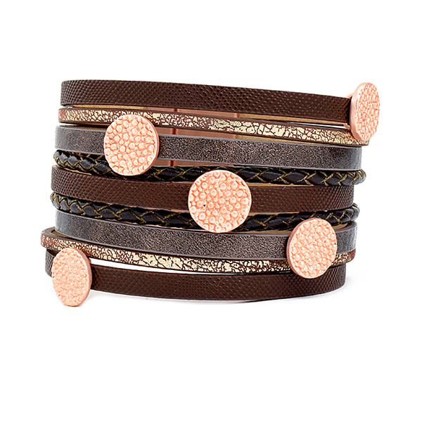 Multi Strand Magnetic Leather Bracelet with Rose Gold Stations