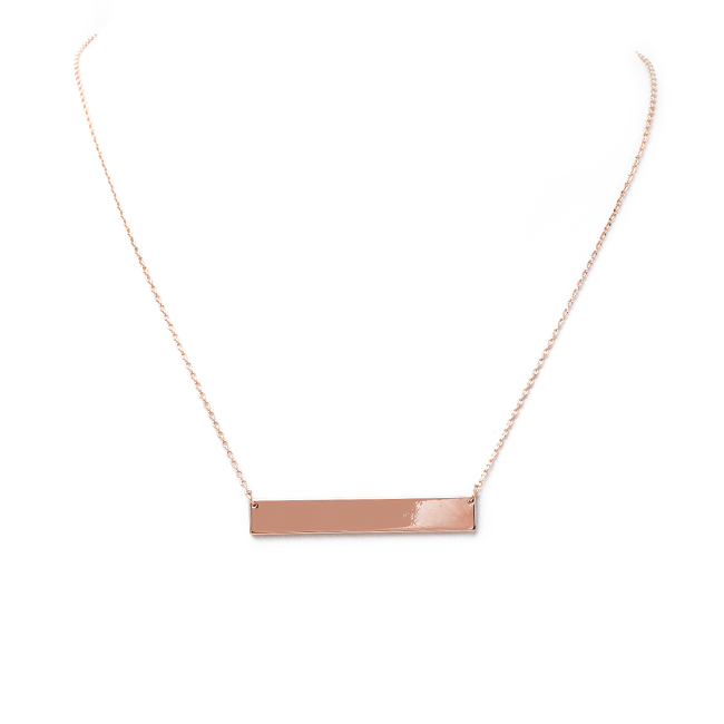 Shiny Rose Gold Bar Pendant Necklace
