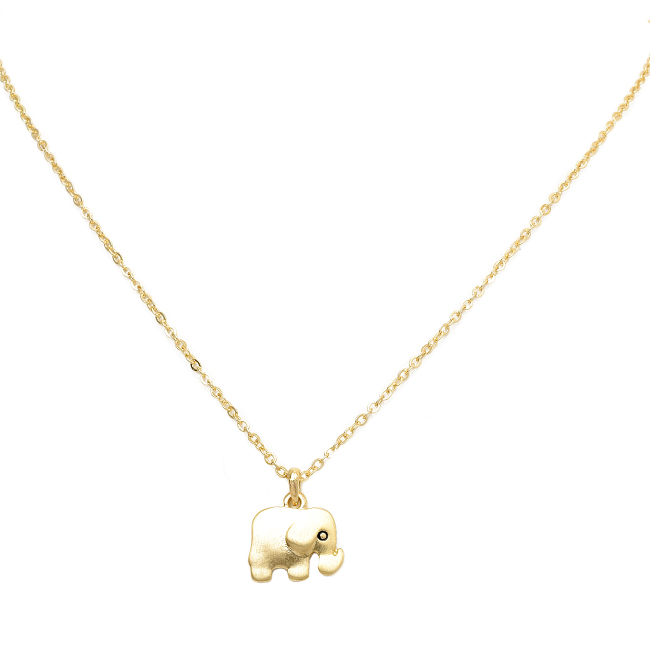 Gold Tone Elephant Pendant Necklace