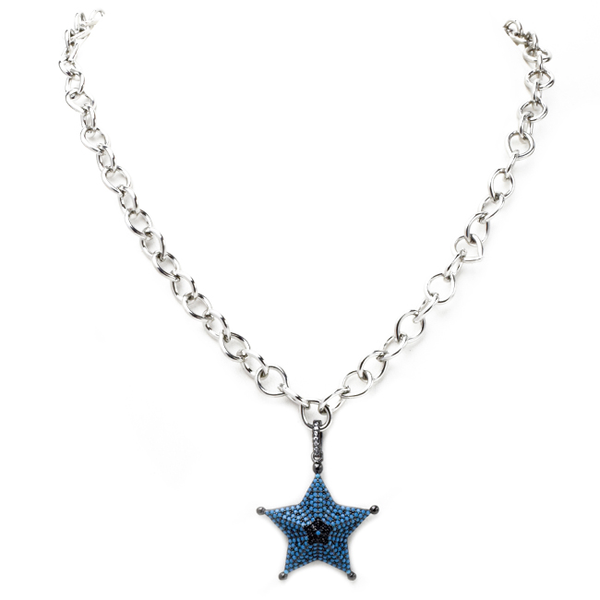 Linked Chain Necklace with Cubic Zirconia Starfish Necklace