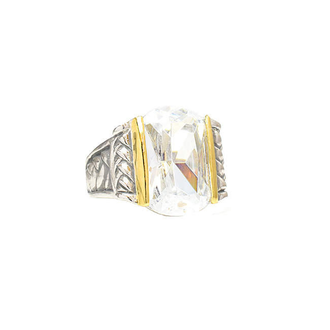 Two Tone Cubic Zirconia Statement Ring
