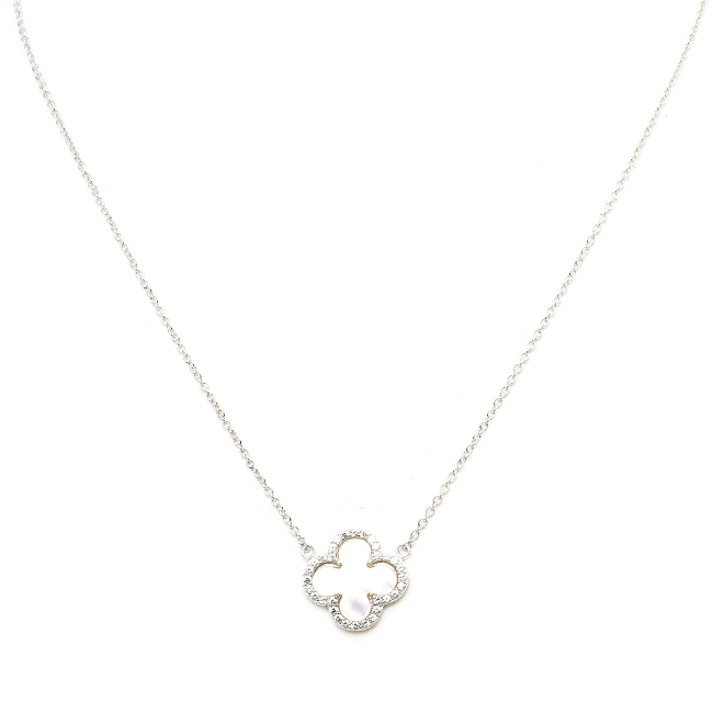 Sterling Silver Mother of Pearl Cubic Zirconia Clover Necklace