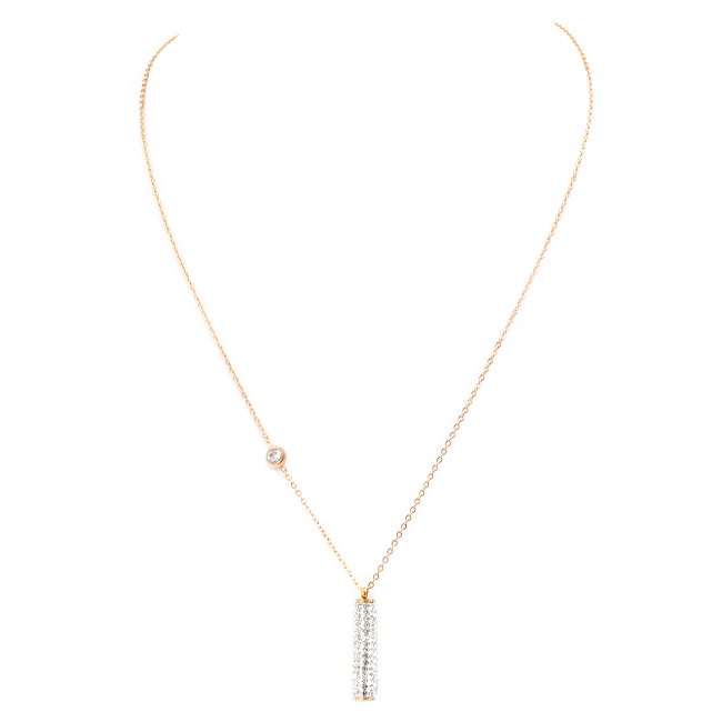 Stainless Steel Rose Gold Cubic Zirconia Pendant Necklace