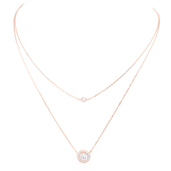 Rose Gold Cubic Zirconia Layered Pendant Necklace