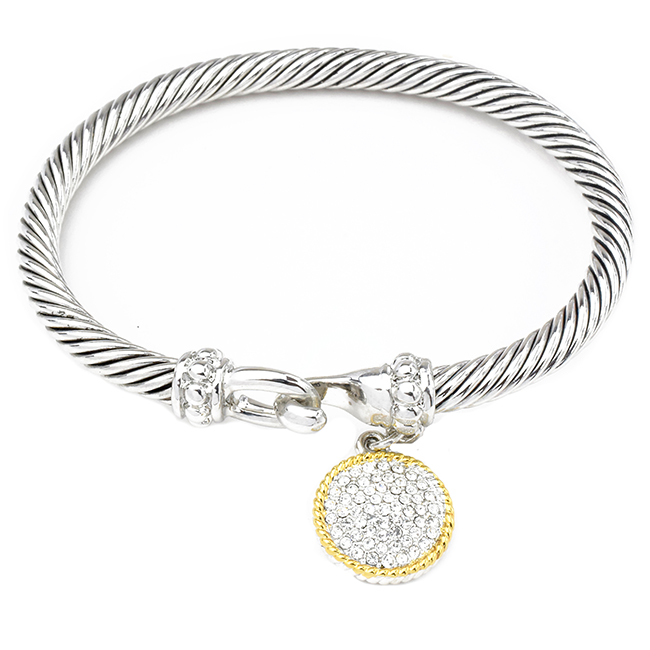 Two Tone Twisted Cable Bracelet with Cubic Zirconia Pave Charm