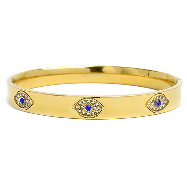 Gold Stainless Steel Bangle Bracelet with Cubic Zirconia Eye Stations