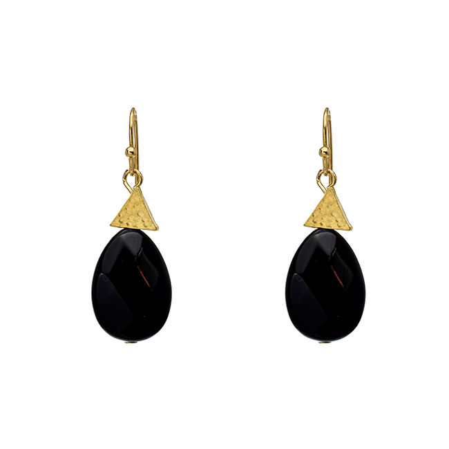 Onyx Teardrop Dangle Earrings with Gold Triangle