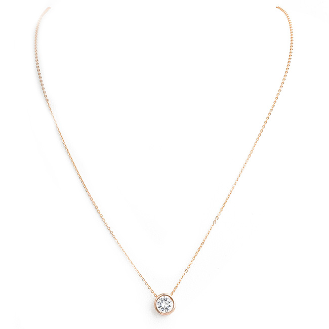 Rose Gold Round Cubic Zirconia Pendant Necklace