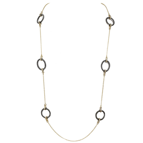Gold & Hematite Cubic Zirconia Open Circle Stations Necklace