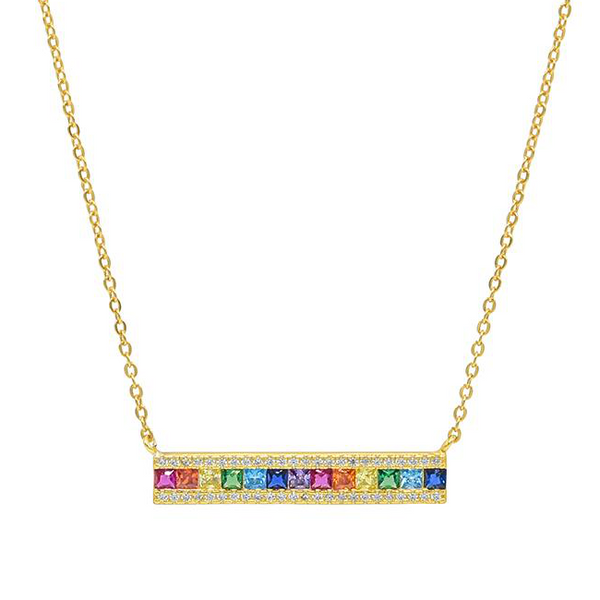 Sterling Silver Gold Plated Multi Color CZ Bar Necklace