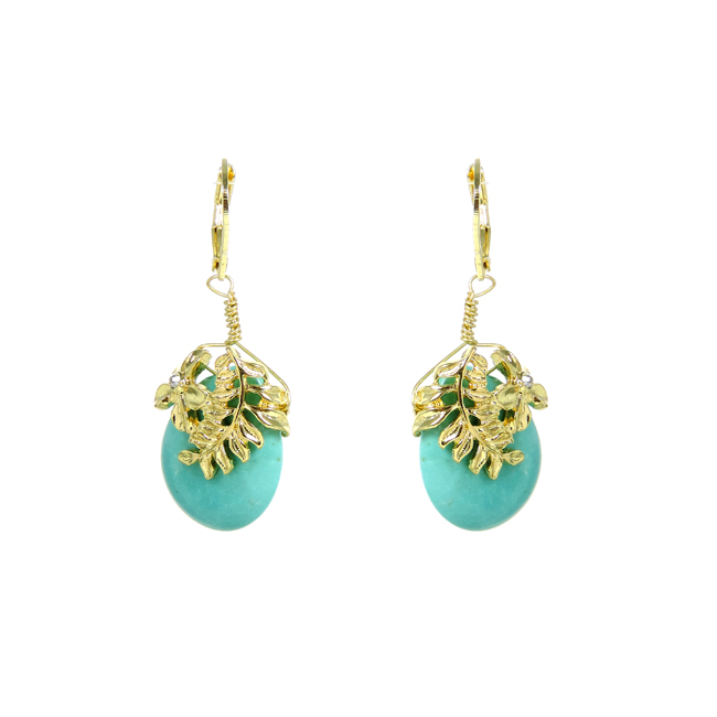 Gold Tone Turquoise Dangle Earrings