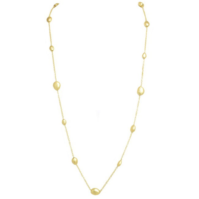 brushed gold bead necklace
