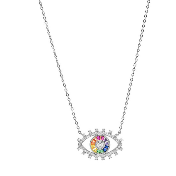 Sterling Silver CZ Evil Eye Pendant Necklace