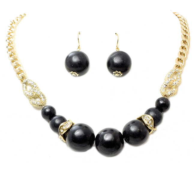 Gold & Black Semi Precious Necklace Set