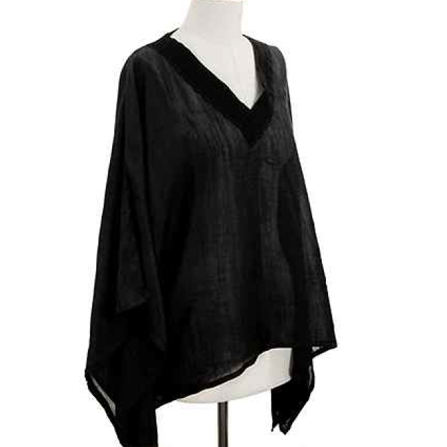 Lace Trim V-Neck Poncho