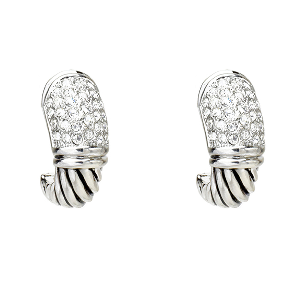 Twisted Half Hoop Cubic Zirconia Earring