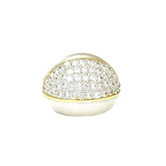 Brushed Silver Ring with Cubic Zirconia Pave Center