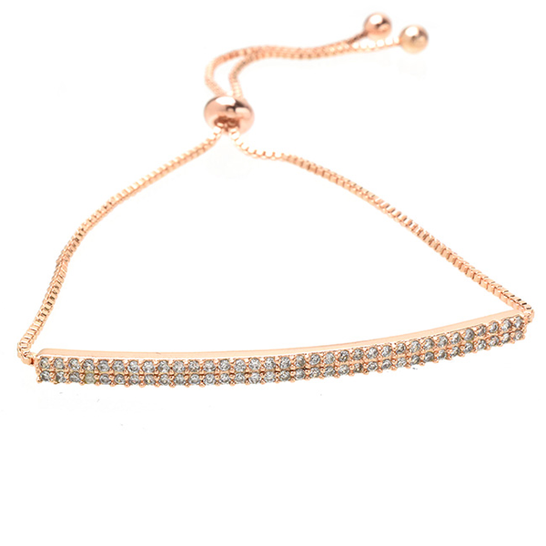 Rose Gold Double Row Pave Bar Cubic Zirconia Pull Tie Bracelet