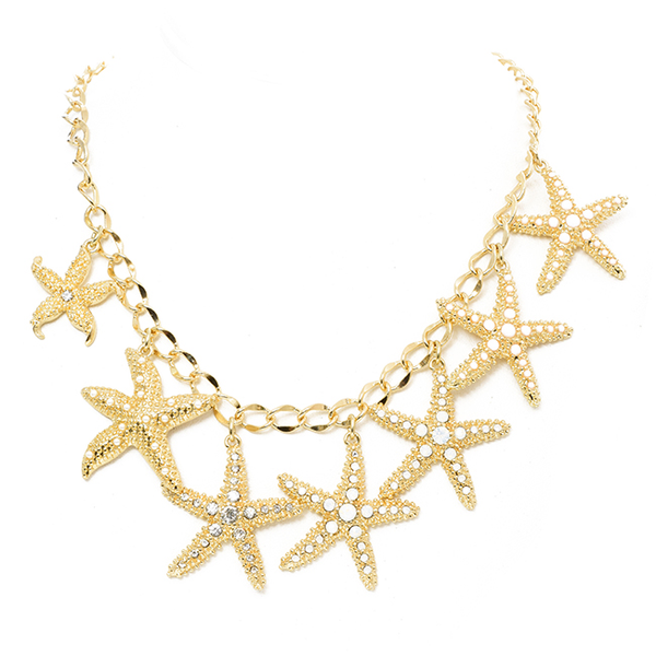 Gold Crystal Starfish Necklace Set