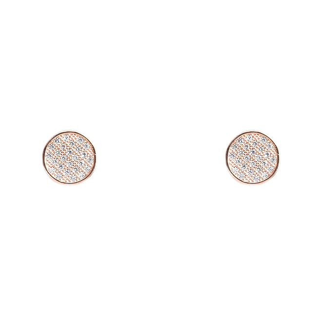Rose Gold Cubic Zirconia Pave Post Earrings