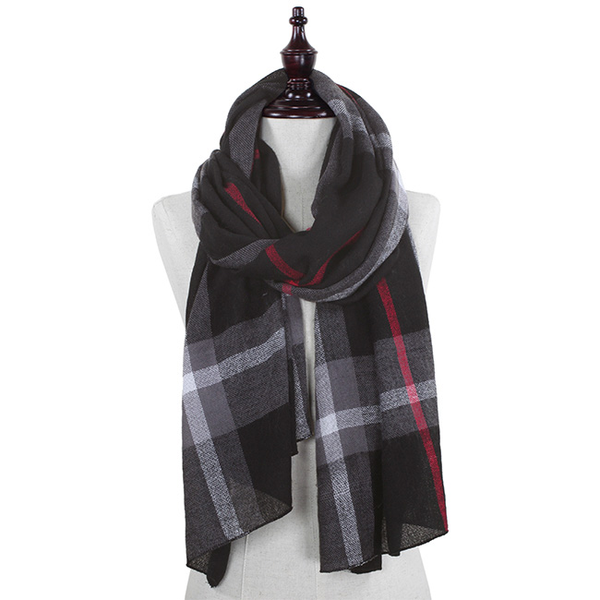 Black Plaid Oblong Scarf