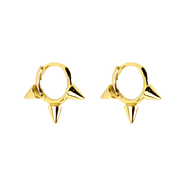 Sterling Silver Gold Plated Spike Huggie Earring