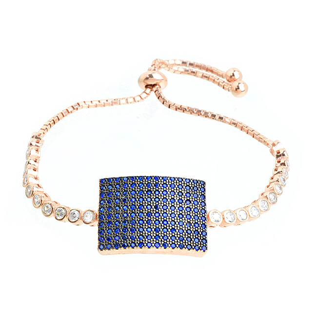 Sterling Silver Rose Gold Plated Cubic Zirconia Pave Pull Tie Bracelet