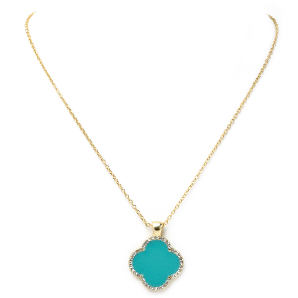 Turquoise Clover Cubic Zirconia Pendant Necklace