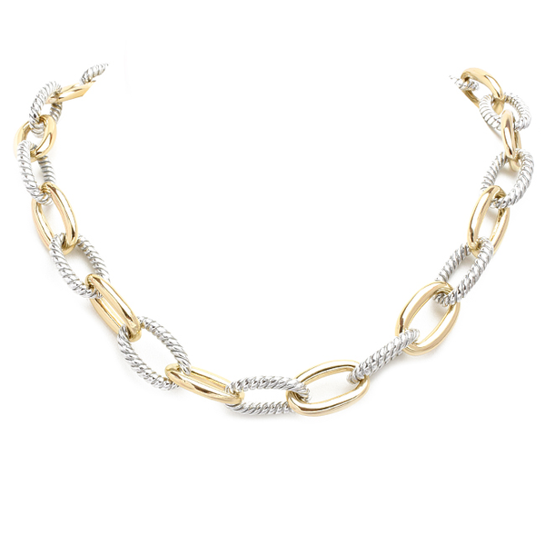 Two Tone Linked Chain Toggle Necklace