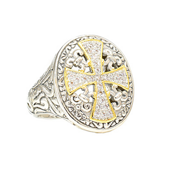 Two Tone Micro Pave Cubic Zirconia Cross Ring