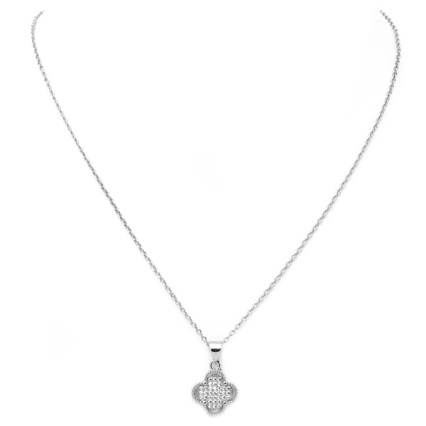 Silver Pave Cubic Zirconia Clover Pendant Necklace