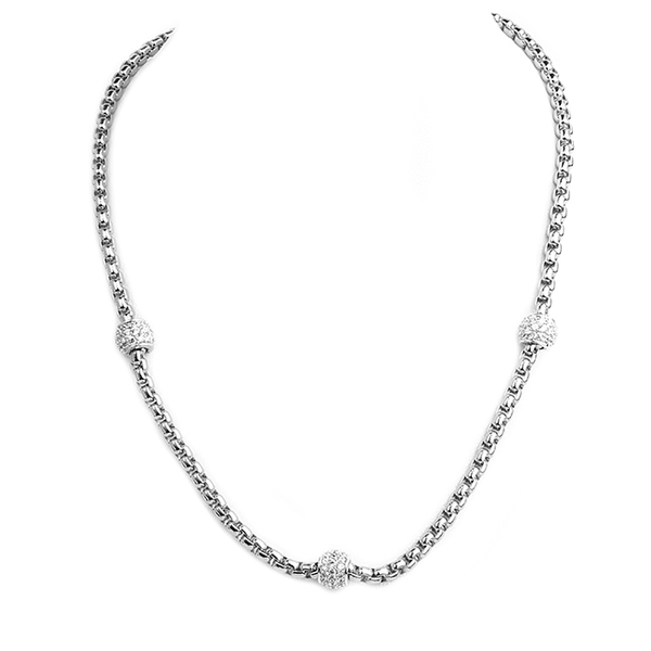 Silver Chain Necklace with Cubic Zirconia Rondelle Stations