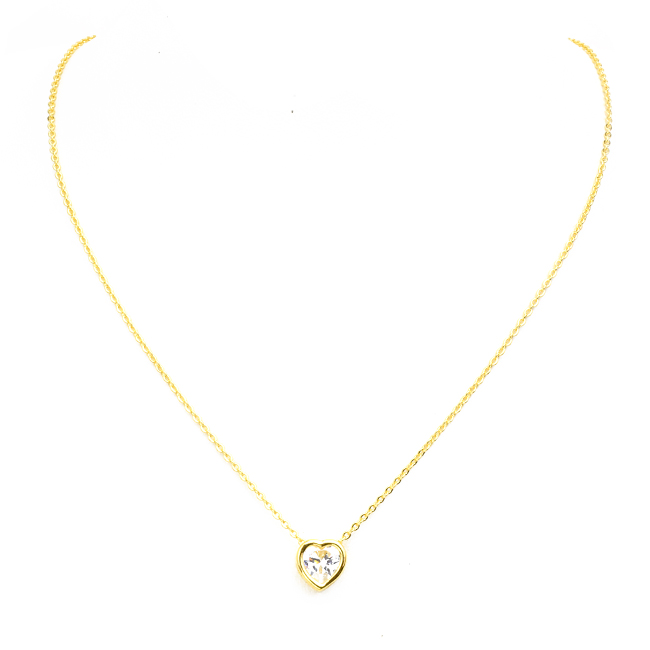 Gold Cubic Zirconia Heart Pendant Necklace