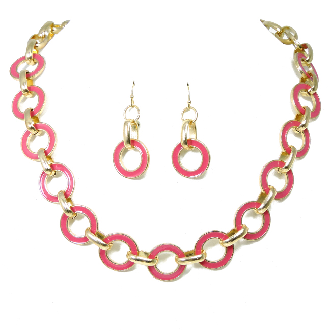 Gold & Fuchsia Linked Chain Necklace Set