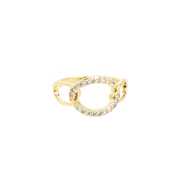 Triple Oval Linked and Cubic Zirconia Gold Ring
