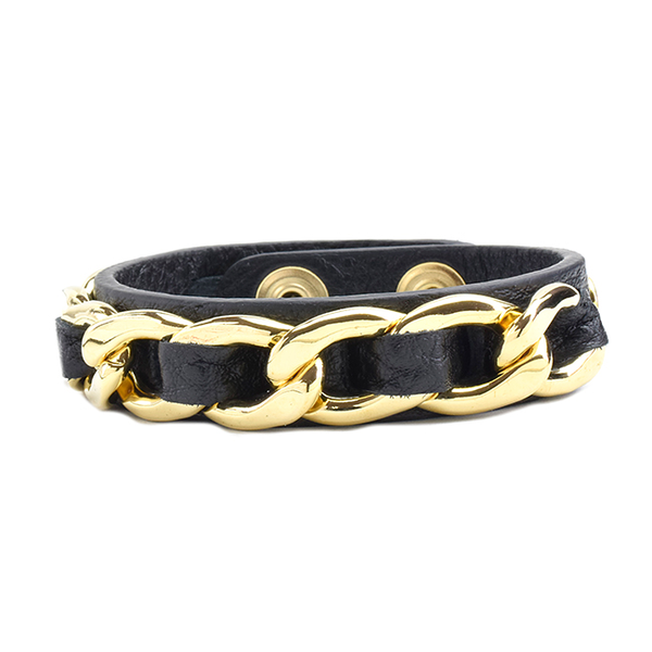 Black Adjustable Leather Snap Bracelet with Chain