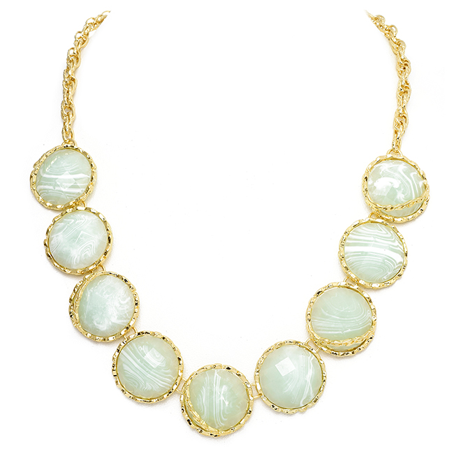 Gold Chain Necklace with Round Mint Stations