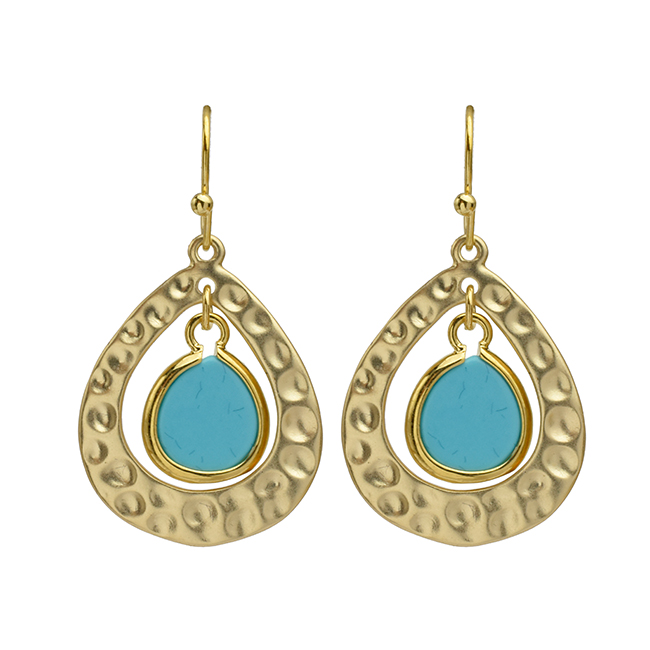 Gold Hammered Teardrop Turquoise Earrings