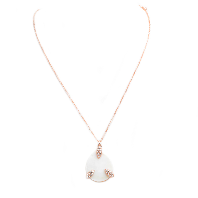 Crystal Studded Mother Of Pearl Teardrop Pendant Necklace Set