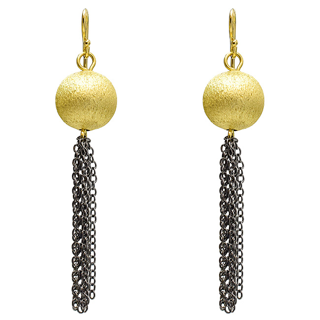 Round Brushed Gold Earrings with Hematite Tassel