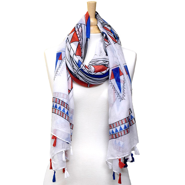 Colorful Tribal Print Scarf