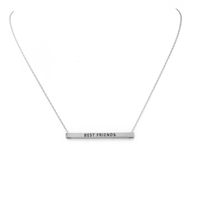 Silver BEST FRIENDS Inspirational Pendant Necklace