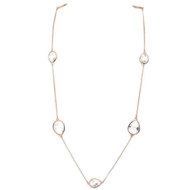 Rose Gold Cubic Zirconia Teardrop Stations Necklace