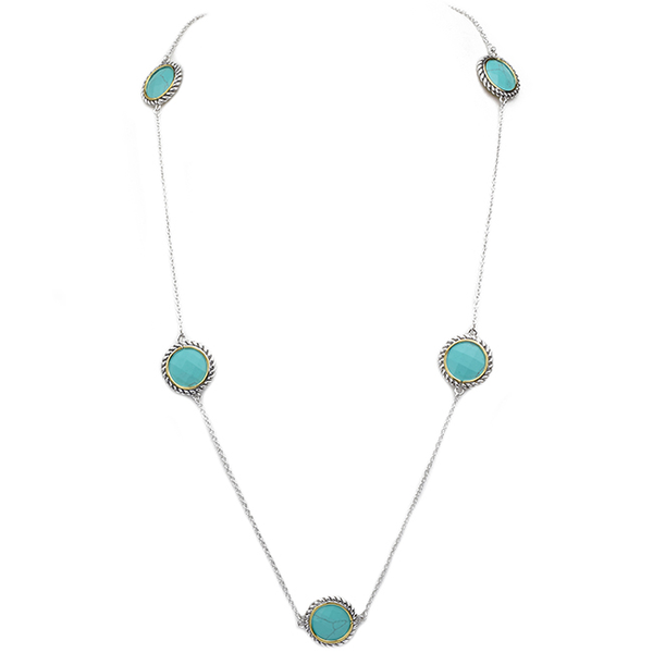 Two Tone Turquoise Stations Necklace