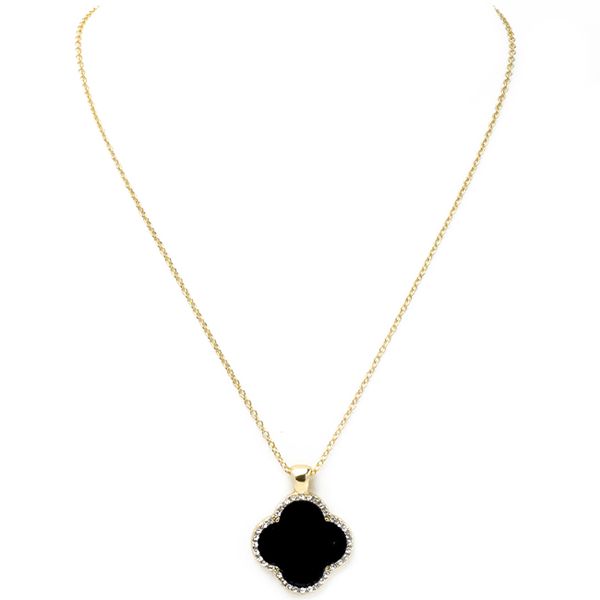 Black Onyx Clover Cubic Zirconia Pendant Necklace